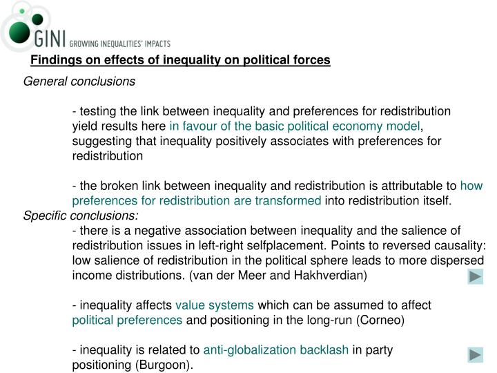 Findings on effects of inequality on political forces