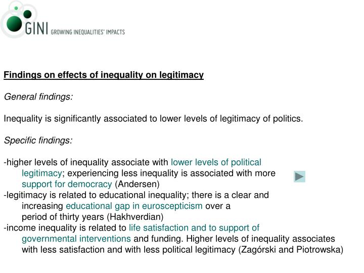 Findings on effects of inequality on legitimacy