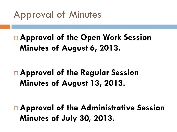 Approval of Minutes