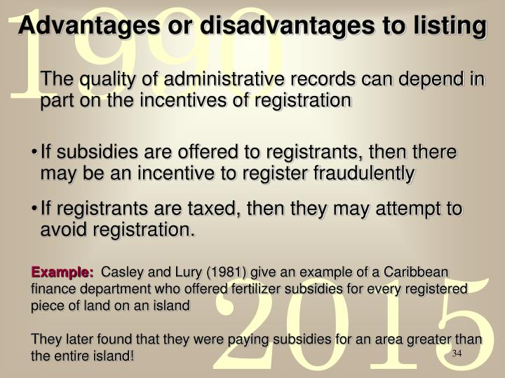 Advantages or disadvantages to listing