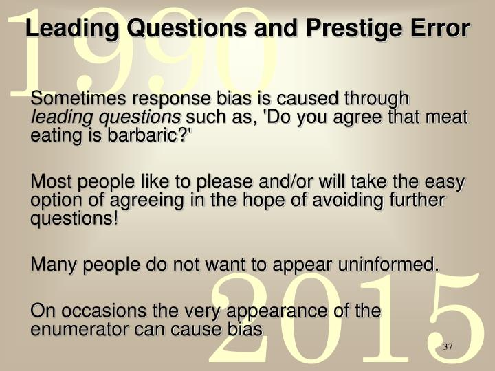 Leading Questions and Prestige Error