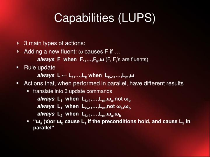 Capabilities (LUPS)