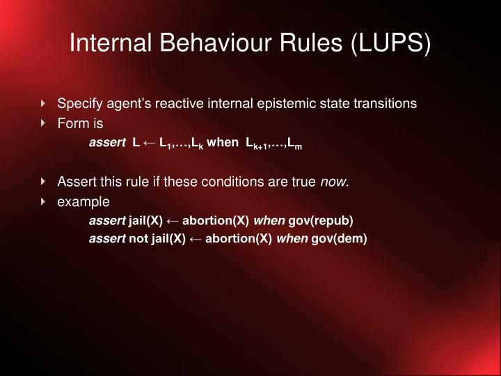 Internal Behaviour Rules (LUPS)
