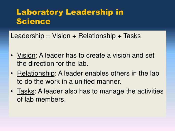 Laboratory Leadership in Science