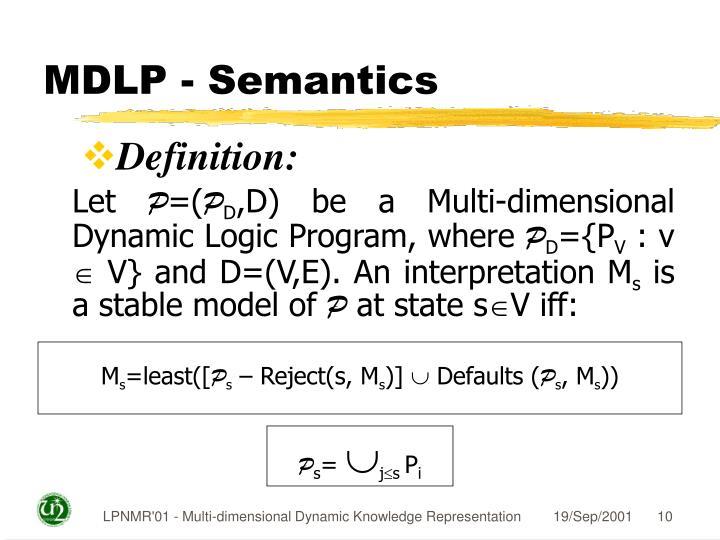 MDLP - Semantics