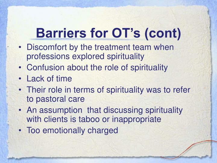 Barriers for OT's (cont)