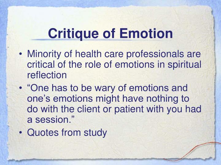 Critique of Emotion
