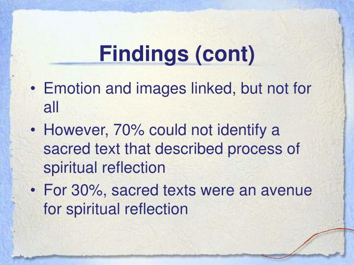 Findings (cont)