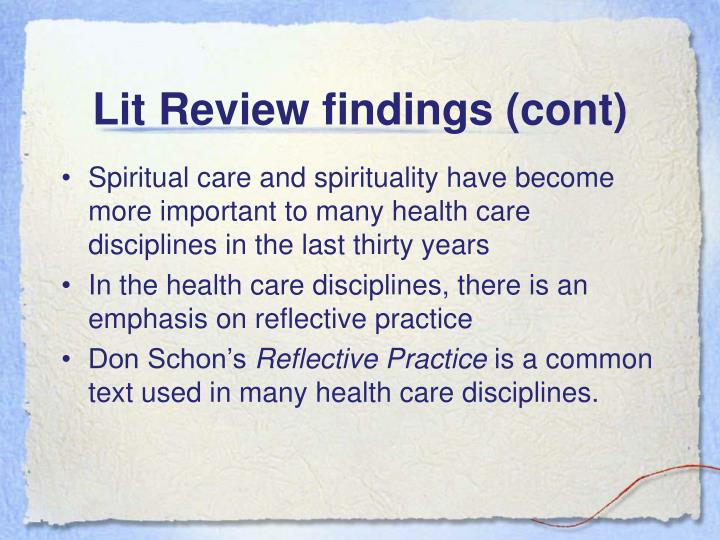 Lit Review findings (cont)