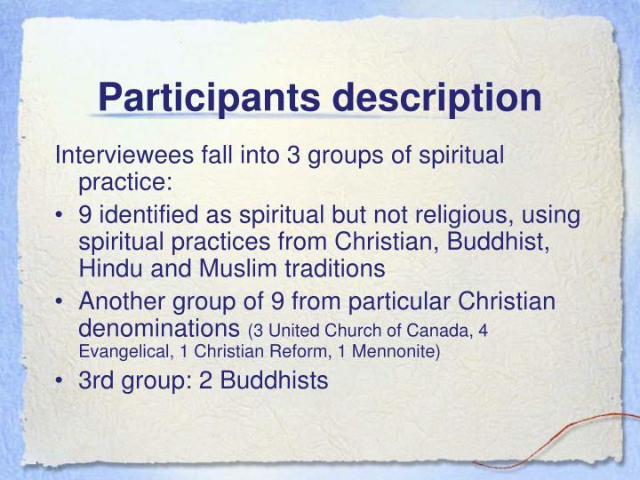 Participants description