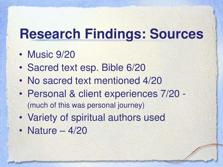 Research Findings: Sources