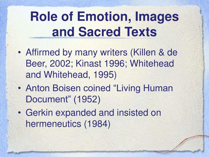 Role of Emotion, Images and Sacred Texts