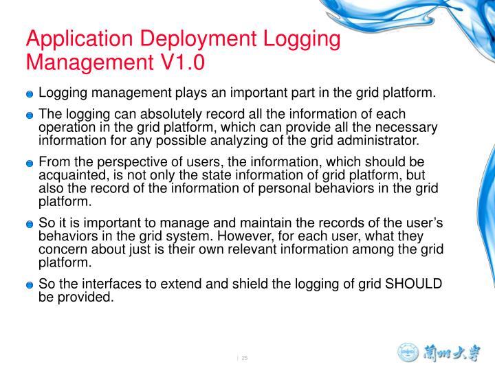 Application Deployment Logging Management V1.0