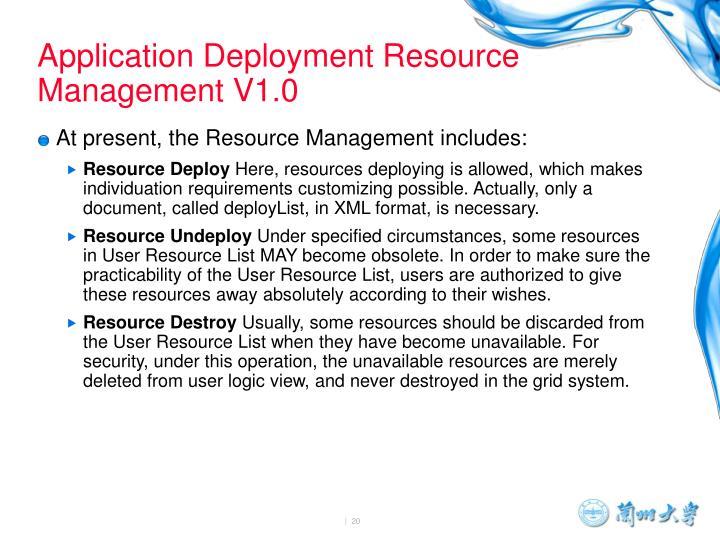 Application Deployment Resource Management V1.0