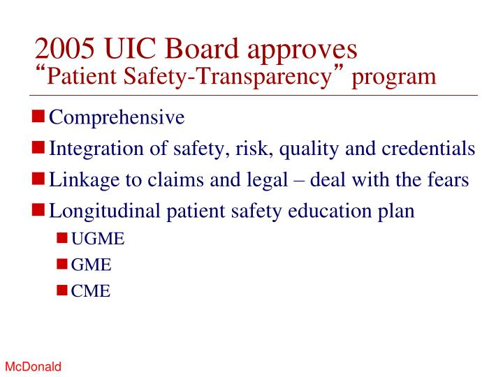 2005 UIC Board approves