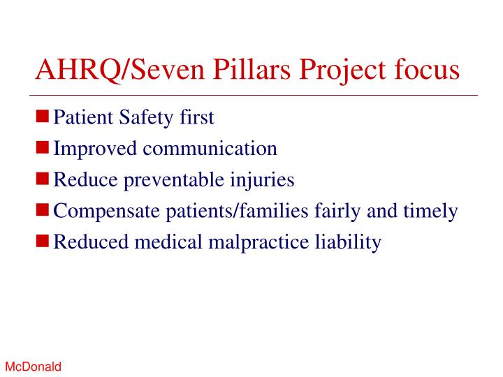 AHRQ/Seven Pillars Project focus