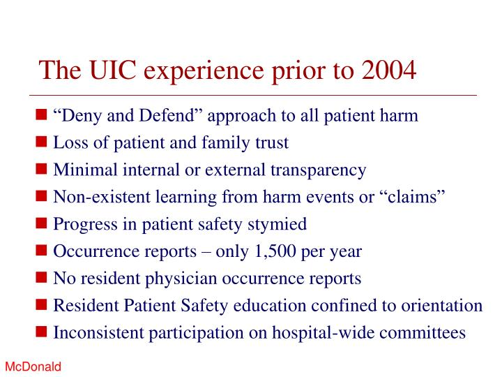 The uic experience prior to 2004