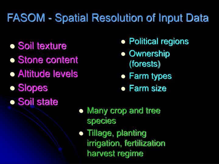 FASOM - Spatial Resolution of Input Data