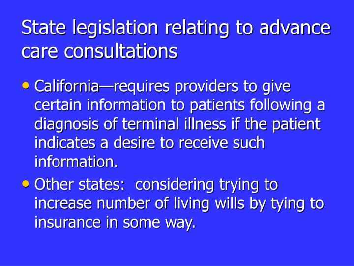 State legislation relating to advance care consultations