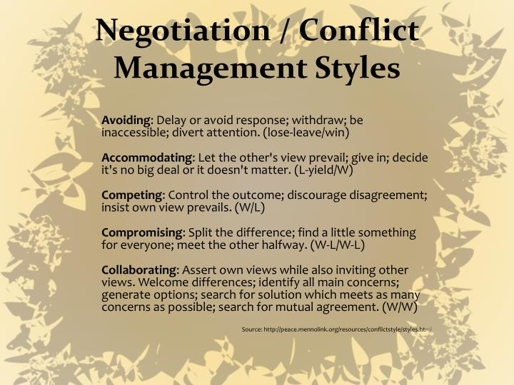 Negotiation / Conflict Management Styles