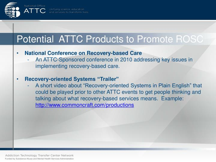 Potential  ATTC Products to Promote ROSC