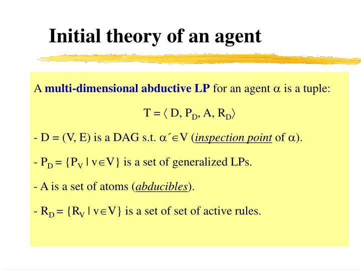 Initial theory of an agent