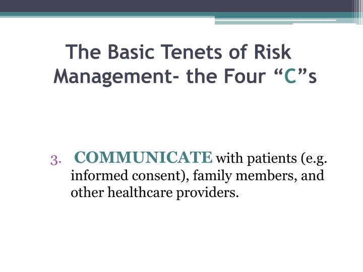 The Basic Tenets of Risk Management- the Four ""