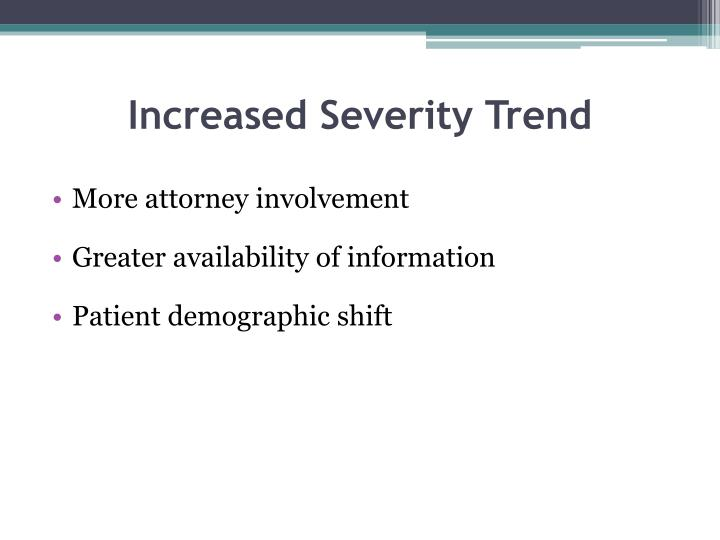 Increased Severity Trend