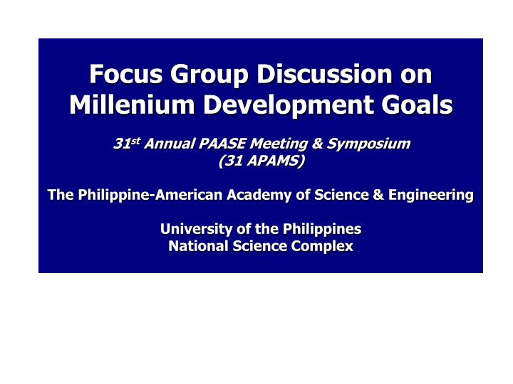 Focus Group Discussion on
