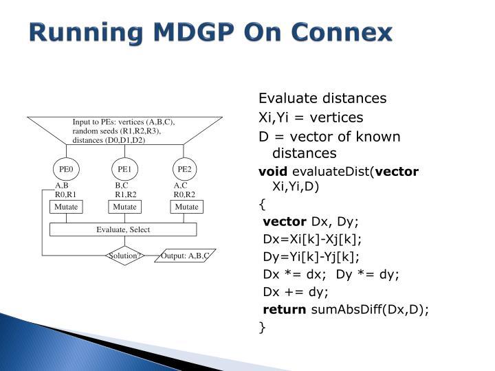 Running MDGP On Connex