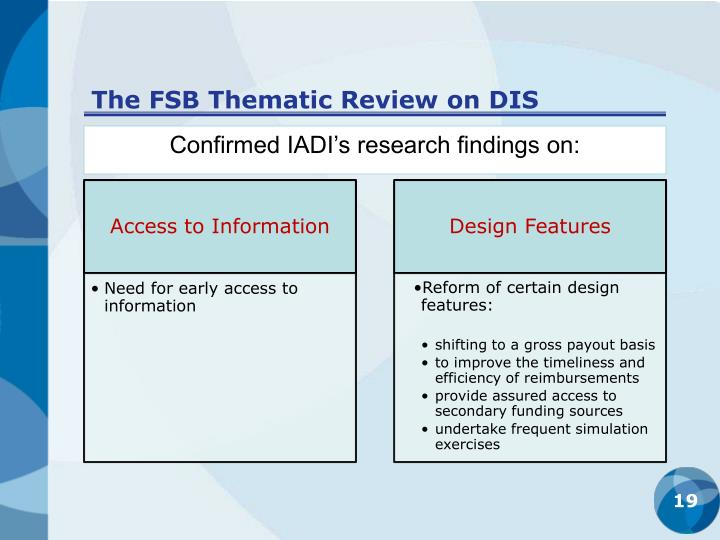 The FSB Thematic Review on DIS