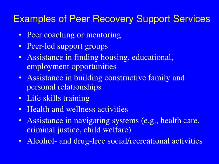 Examples of Peer Recovery Support Services