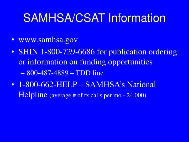 SAMHSA/CSAT Information