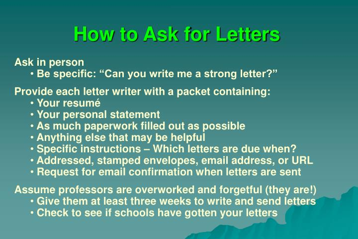How to Ask for Letters