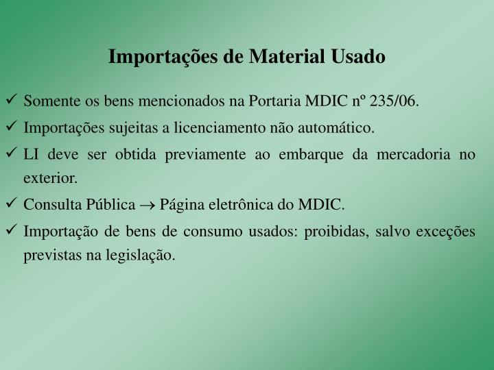 Importações de Material Usado