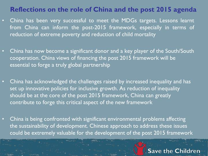Reflections on the role of China and the post 2015 agenda