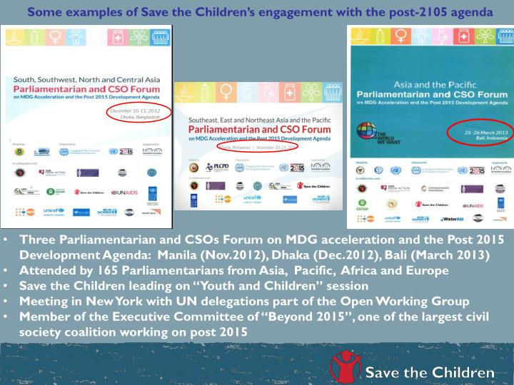 Some examples of Save the Children's engagement with the post-2105 agenda