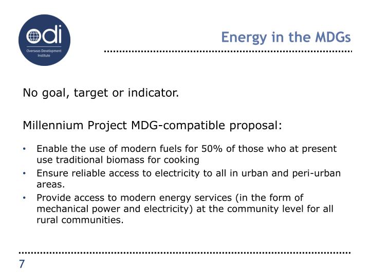 Energy in the MDGs