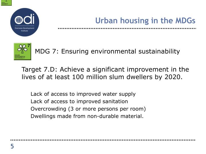 Urban housing in the MDGs