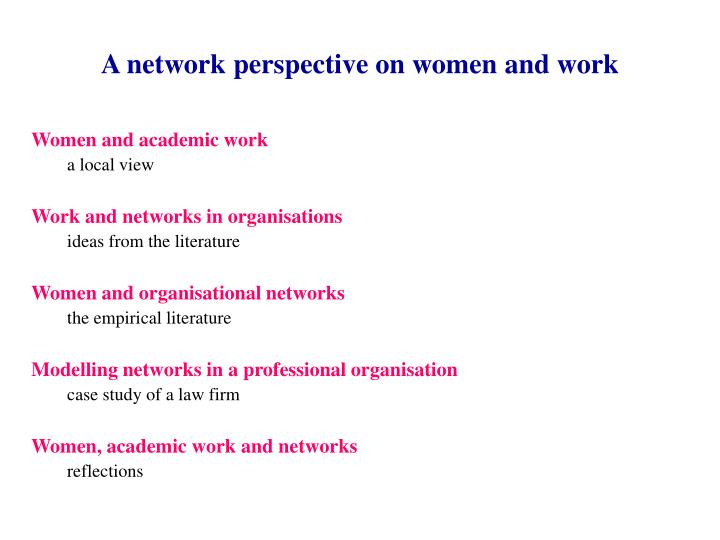 A network perspective on women and work