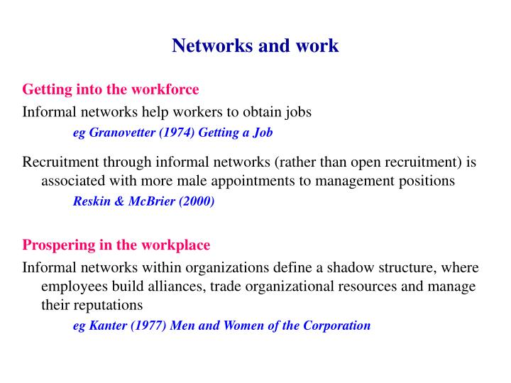 Networks and work