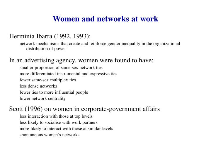 Women and networks at work