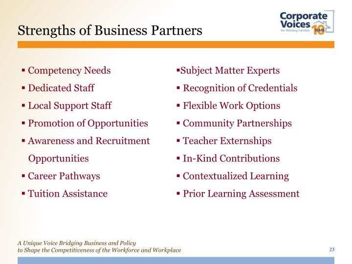 Strengths of Business Partners