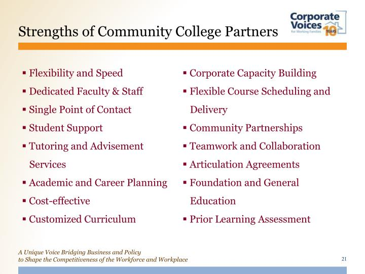 Strengths of Community College Partners