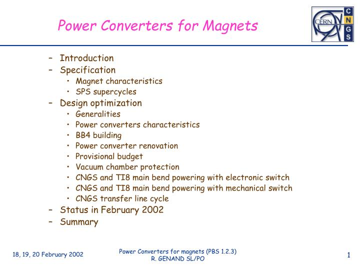 Power Converters for Magnets