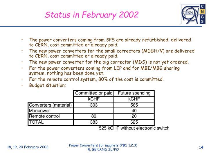 Status in February 2002