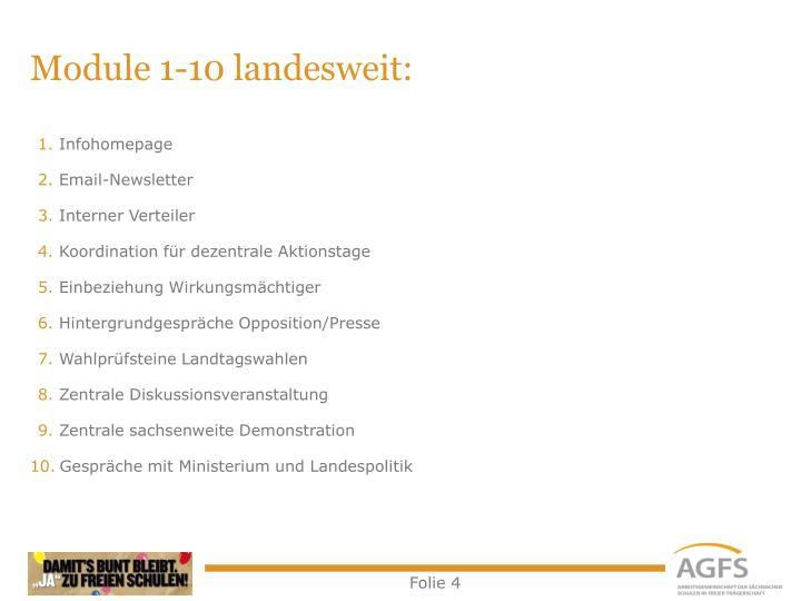 Module 1-10 landesweit: