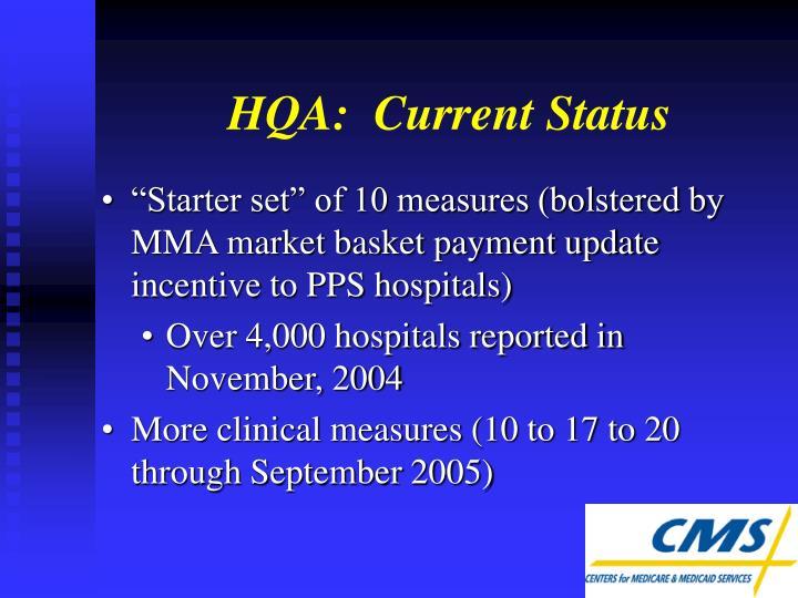 HQA:  Current Status