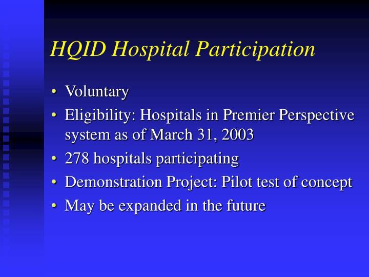 HQID Hospital Participation
