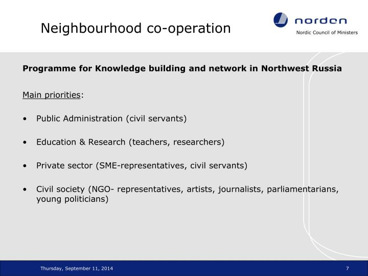 Neighbourhood co-operation